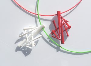 Red and white pendants, designed with Anarkik3D Design, 3D printed in polyamide  and one dyed red.