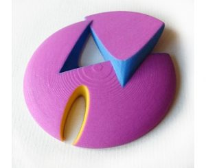 Brooch by Ann Marie Shillito, CEO of Anarkik3D Ltd, designed using Anarkik3D Design programme and 3D printed in colour in sandstone.