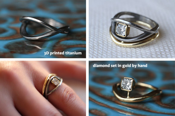 Ann Marie Shillito designed her daughter's wedding ring. It was 3D printed in titanium and flows around the diamond of her hand-wrought engagement ring.
