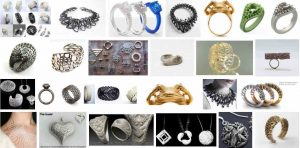 3D printed jewellery designed using computer aided design programmes