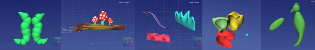 Fife College workshop: some of the digital models created using Anarkik3D Design haptic 3D modelling programme