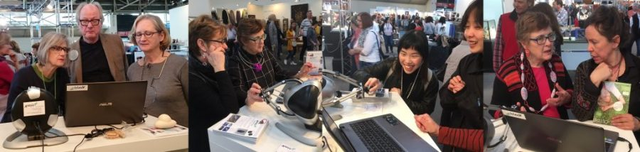 Birgit and Ann Marie giving hands-on demos of haptic 3D modelling to just some of our many visitors at Munich International Handwerk&Design Fair.