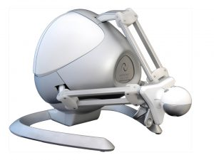 Image shows the Falcon haptic device used with Anarkik3DDesign, a 3D digital modelling software package, to replace the 2D mouse. The haptic device looks a bit alien and enables the user to touch and feel the shape, hardness and texture of their created virtual objects.